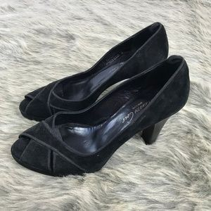 Kenneth Cole Suede Leather Weave Peep Toe Heels 8